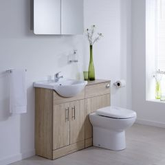 Milano 1140mm Classic Oak Vanity Combination Unit WC With Tap & Waste