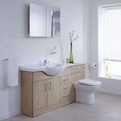 Milano Classic Oak 1540mm Vanity and WC  Combination Unit With Tap & Waste