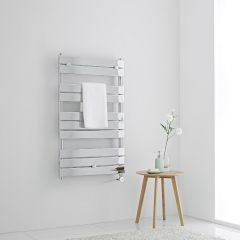 Milano Lustro Electric - Designer Chrome Flat Panel Heated Towel Rail - 1000mm x 600mm