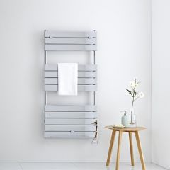 Milano Electric Lustro - Designer Chrome Flat Panel Heated Towel Rail - 1213mm x 600mm