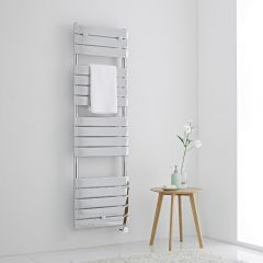 Milano Lustro Electric - Designer Chrome Flat Panel Heated Towel Rail - 1512mm x 450mm