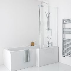 Milano 1700mm Square Shower Bath Panels & Screen - Right Hand