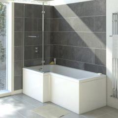 Milano - 1700 x 850mm Square Shower Bath with Panels - Left Hand