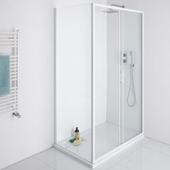 Milano Bianco Glass Shower Side Panel - White - 900mm x 1950mm