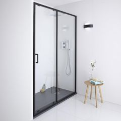 Milano Nero Shower Sliding Door - Black - 1100mm x 1950mm
