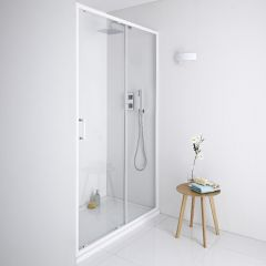 Milano Bianco Shower Sliding Door White - 1100mm x 1985mm