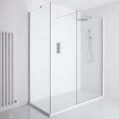 Milano Bianco Corner Walk-In Shower Enclosure (1400 x 800mm) - Inc. Tray