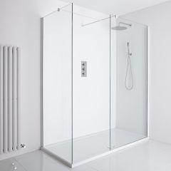 Milano Bianco Corner Walk-In Shower Enclosure (1600 x 800mm) - Inc. Tray