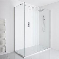 Milano Portland Corner Walk-In Shower Enclosure (1700 x 800mm) - Inc. Walk-in Tray & Return Panel