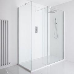Milano Bianco Corner Walk-In Shower Enclosure (1400 x 800mm) - Inc. Tray & Return Panel