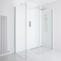 Milano Bianco Corner Wet-Room Shower Enclosure (900mm x 800mm Glass) - Inc. Drain & Return Panel