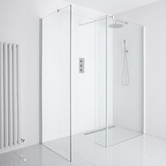 Milano Bianco Corner Wet-Room Shower Enclosure (1200mm x 900mm Glass) - Inc. Drain & Return Panel
