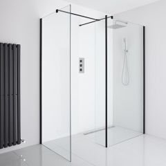 Milano Nero Corner Wet-Room Shower Enclosure (900mm x 800mm Glass) - Inc. Drain & Return Panel