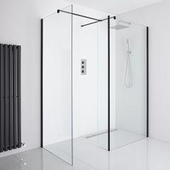 Milano Nero Corner Wet-Room Shower Enclosure (1000mm x 900mm Glass) - Inc. Drain & Return Panel