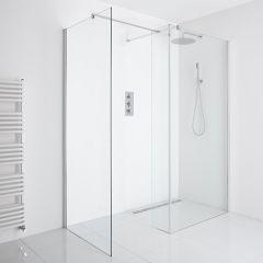 Milano Portland Corner Wet-Room Shower Enclosure (1000mm x 800mm Glass) - Inc. Drain & Return Panel