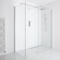 Milano Portland Corner Wet-Room Shower Enclosure (1000mm x 900mm Glass) - Inc. Drain & Return Panel