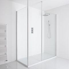 Milano Alto Corner Walk-In Shower Enclosure (1400 x 900mm) - Inc. Tray