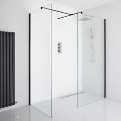 Milano Nero Corner Wet-Room Shower Enclosure (1200mm x 800mm Glass) - Choice of Drain