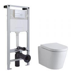 Milano Farington Wall Hung Toilet, Tall Wall Frame and Choice of Flush Plate