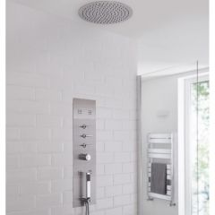 Milano Lisse Concealed Shower Tower with 400mm Round Recessed Ceiling Head