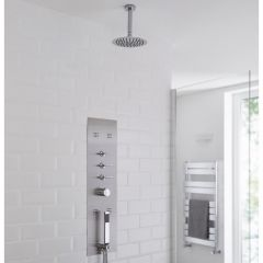 Milano Lisse Concealed Shower Tower with 200mm Round Head and Ceiling Arm