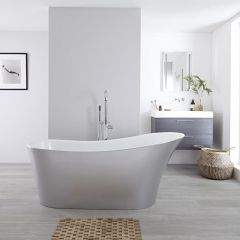 Milano Select - 1710 x 745mm Silver Freestanding Slipper Bath