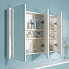 Premier 3 Door Bathroom Mirror Cabinet 900mm
