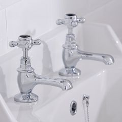Hudson Reed Topaz Traditional Mixer Basin Taps Chrome/Black Hexagonal Collars