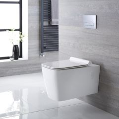 Milano Elswick - Square Wall Hung Toilet with Soft Close Seat