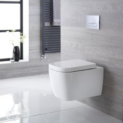 Milano Longton - Square Wall Hung Toilet with Soft Close Seat
