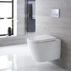 Milano Farington - Oval Wall Hung Toilet with Soft Close Seat