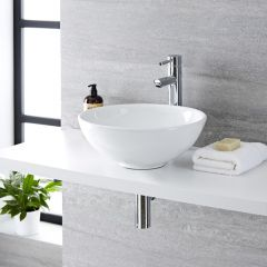 Milano Irwell - Round Ceramic Countertop Basin - 400mm