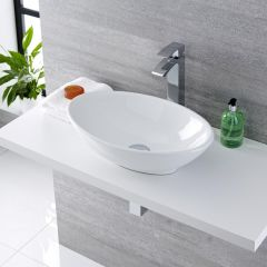 Milano Altham Oval Countertop Basin with Razor High Rise Basin Mixer Tap