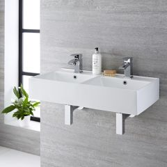 Milano Dalton - Double Ceramic Wall Hung Basin 820 x 420mm