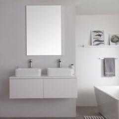 Milano Oxley - 1200mm Modern Vanity Unit with Twin Countertop Basin - Matt White