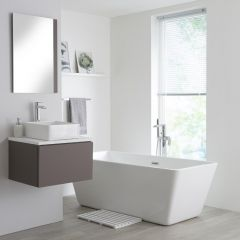 Milano Oxley - 600mm  Grey Vanity Unit with White Top and Basin