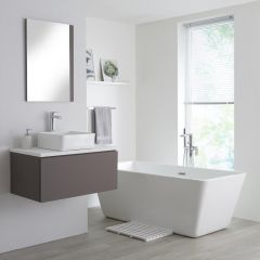 Milano Oxley - 800mm Grey Vanity Unit with White Top and Basin