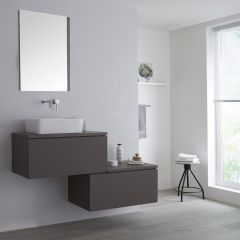 Milano Oxley - 1400mm Stepped Vanity Unit with Countertop Basin - Matt Grey