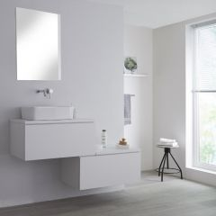Milano Oxley - 1400mm Stepped Vanity Unit with Countertop Basin - Matt White