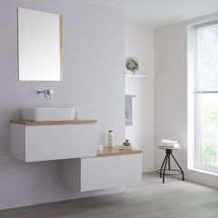 Milano Oxley - 1400mm Stepped Vanity Unit with Countertop Basin - White & Oak