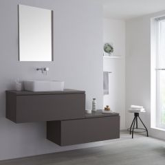 Milano Oxley - 1600mm Stepped Vanity Unit with Countertop Basin - Matt Grey