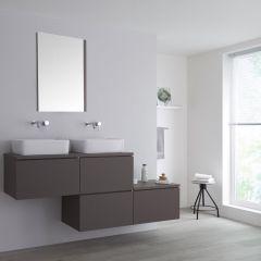 Milano Oxley - 1800mm Stepped Vanity Unit with Countertop Basins - Matt Grey