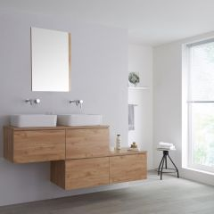 Milano Oxley - 1800mm Stepped Vanity Unit with Countertop Basins - Golden Oak