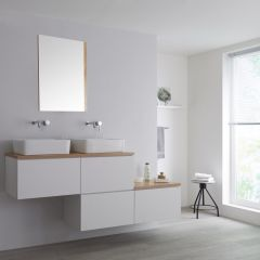 Milano Oxley - 1800mm Stepped Vanity Unit with Countertop Basins - White & Oak