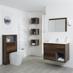 Milano Bexley 800mm Vanity Unit, WC Unit, Pan, Single Storage Unit & Mirror - Dark Oak