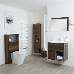 Milano Bexley 600mm Vanity Unit, WC Unit, Pan, 1500mm Storage Unit & Mirror - Dark Oak