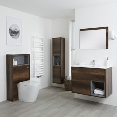 Milano Bexley 800mm Vanity Unit, WC Unit, Pan, 1500mm Storage Unit & Mirror - Dark Oak