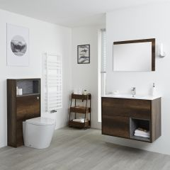 Milano Bexley 800mm Vanity Unit, WC Unit & Back to Wall Pan - Dark Oak