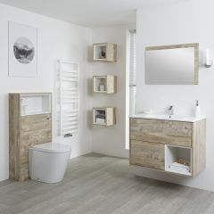 Milano Bexley 800mm Vanity Unit, WC Unit, Pan, Single Storage Unit & Mirror - Light Oak