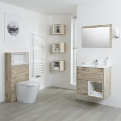 Milano Bexley 600mm Vanity Unit, WC Unit & Back to Wall Pan - Light Oak